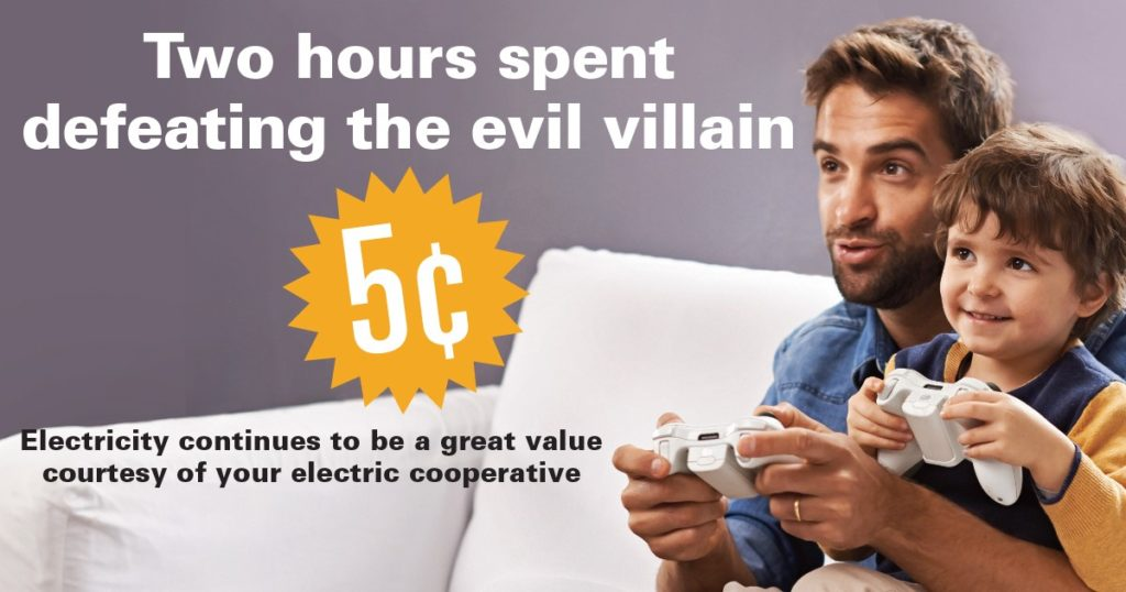 "Picture of Dad and son playing video games. Text ""2 Hours spend defeating evil villain - five cents."